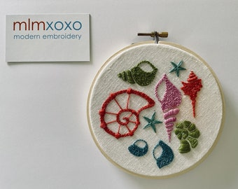 Seashore PDF hand embroidery by mlmxoxo.  seashells.  seahorse.  octopus.  diy patterns.  beach decor.  tutorial.  PDFs will be emailed.