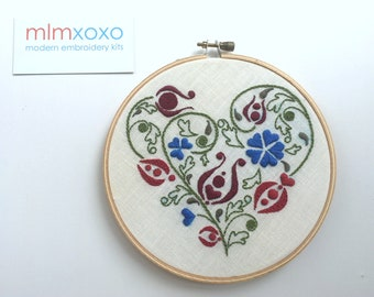 Ottoman Tulip Heart embroidery PDF by mlmxoxo.  modern embroidery.  diy embroidery pattern.   Ottoman motif.   tulip design and instructions