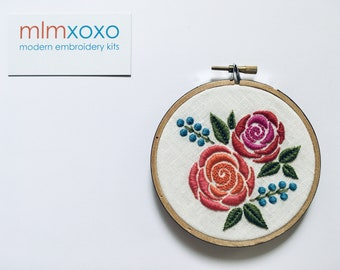 Rose embroidery KIT by mlmxoxo.  modern embroidery.  rose.  flower.  botanical.  diy kit.  hand embroidery kit. learn to embroider. tutorial