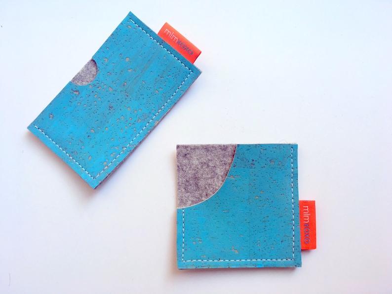 vegan Cork and Felt unisex Card Case by mlmxoxo mlmxoxo card case business card holder eco-friendly rectangular or square case