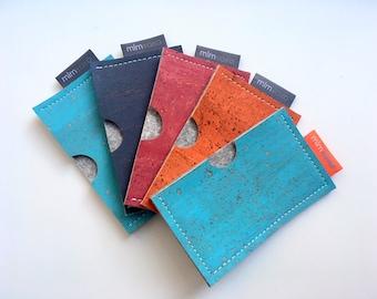 Card Case by mlmxoxo.  Cork and Felt.  business card holder.  unisex.  eco-friendly.  vegan.  rectangular or square case.  mlmxoxo card case