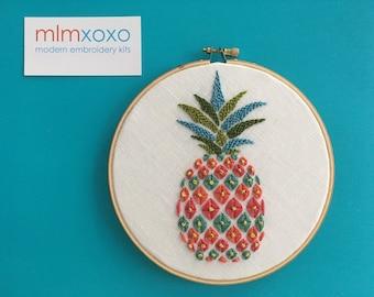 "Pineapple Embroidery KIT by mlmxoxo.  modern embroidery kit.  diy needlework.  fruit.  housewarming gift.  hand embroidery  5"" hoop art kit."