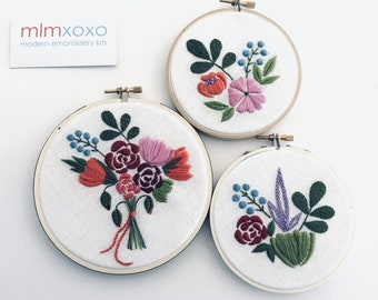 Posies or Bouquet PDF embroidery pattern by mlmxoxo.  beginner embroidery. flower design PDF.  floral embroidery diy.  PDFs will be emailed.