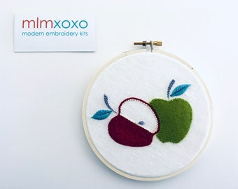 """Apple embroidery KIT by mlmxoxo.  modern embroidery.  5"""" hoop art embroidery kit."""