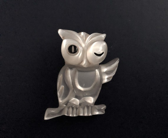 Hand Painted Lucite Owl Brooch hand carved and han