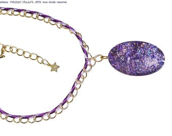 Purple necklace, resin and sequins, gold plated chain