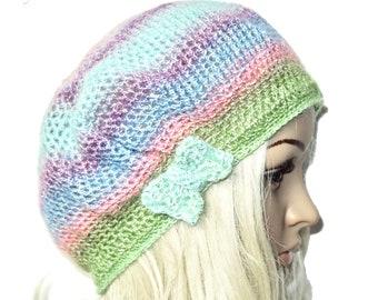 Béret bonnet en laine multicolore arc-en-ciel pastel, mi-saison ,doux,style  bohème, réalisé au crochet 068c3584009