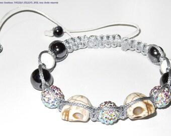 Bracelet shamballa gray and white, crystals, skulls, hematites