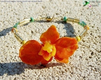 Bracelet orange orchid, hand-crafted, unique, wedding, evening ....