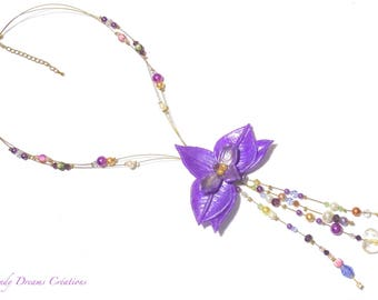 Mauve, lilac, hand-crafted orchid necklace for wedding, ceremony, evening.
