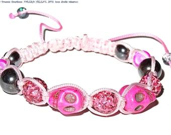 Bracelet shamballa fuchsia, pink, crystals, skulls, hematites