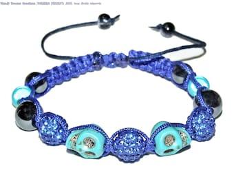 Bracelet shamballa blue king, crystals, skulls, hematites