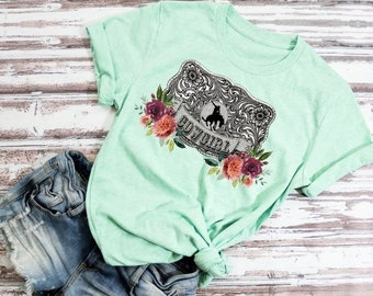 1ba603c0dcb401 Cowgirl Belt Buckle Shirt, Cowgirl Shirt, Cowboy, Rodeo Queen, Floral Belt  buckle Shirt, Choose Shirt Style & Color, Rodeo Shirt, Rodeo Tank