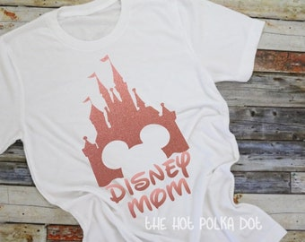 Disney Mom Shirt, Personalized Disney Castle Shirt, Disney Mom Shirt, Custom Disney Shirt, Glitter Castle Matching Disney Family Vacation