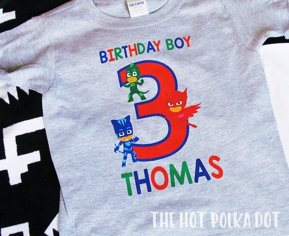 PJ Mask Birthday Boy Shirt Personalized Name And Age