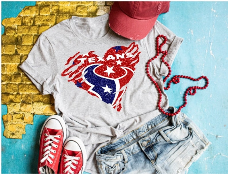 save off 771e0 f0eec Houston Texans Shredded Heart Logo Shirt or Tank, Choose Shirt Style,  Womens Muscle Tank, Super Soft Bella Tank, TEXANS Shirts