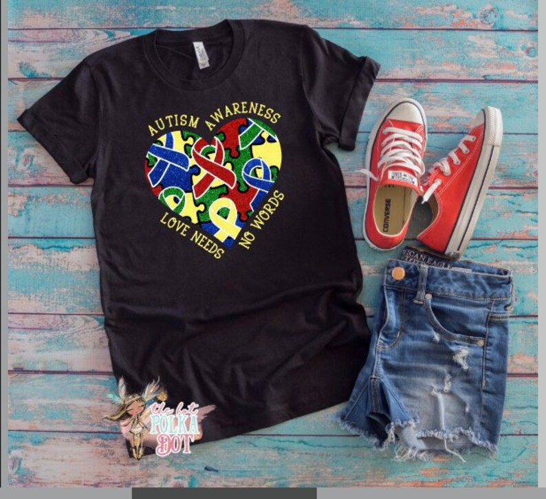 be3259e987b Autism Awareness Shirt, Autism Mama, Love Needs no Words, Autism Shirt,  Autism Ribbon Shirt, Adult Triblend Short Sleeve T-Shirt