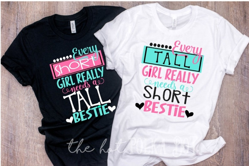 7dcd46173 Set of 2 Matching Best Friend Tshirts Every Short Girl Needs | Etsy