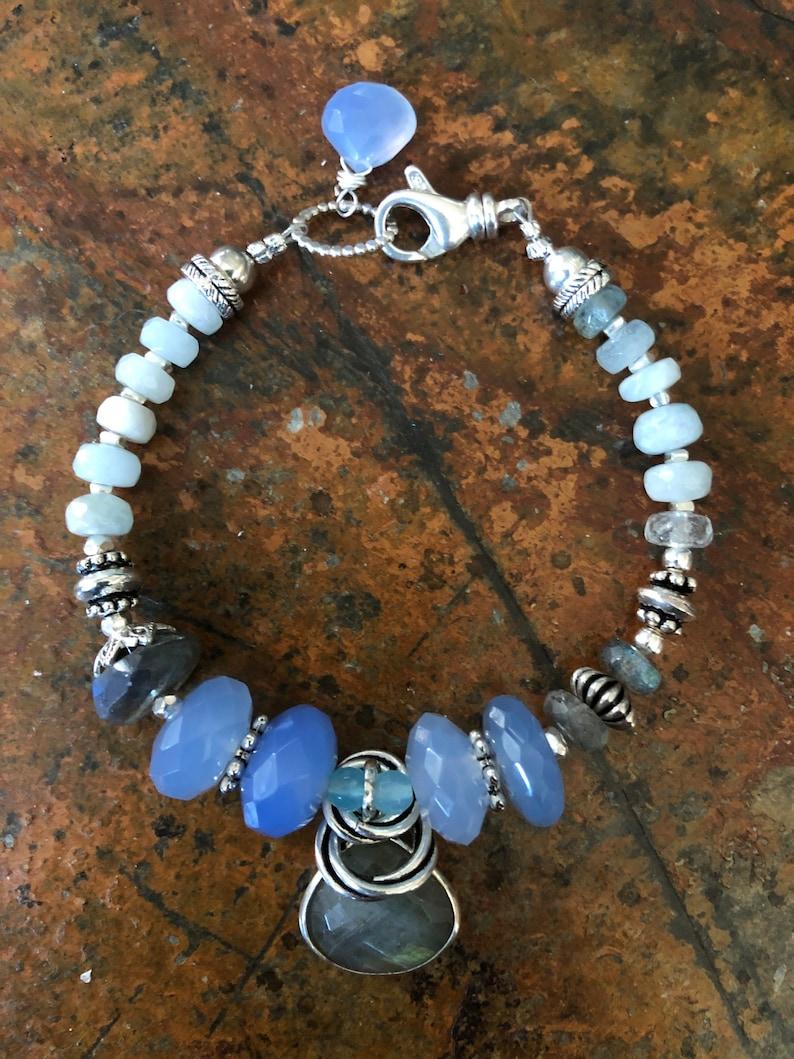 Got the Blues Chalcedony Labradorite Aquamarine Sterling Silver Bracelet