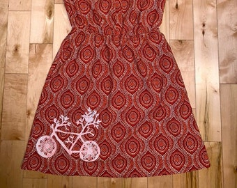 d0bb6021e7fa Upcycled Orange & Red Print Merona Dress with Pockets! Bicycle Print Size S