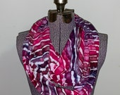 PREORDER - Ice Dyed Infinity Scarf -- Berry Geode Stripes