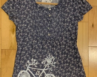 More like L-XL Upcycled Purple Tunic Length Top with Bicycle Print Size XXL