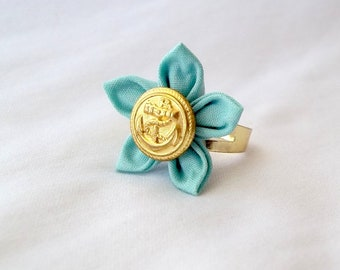 Robin's Egg Blue Flower Ring Tsumami Kanzashi Statement Jewelry with Anchor