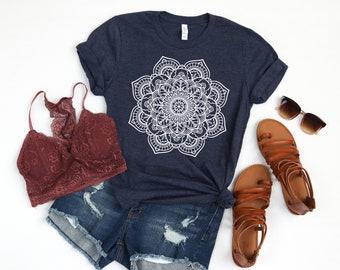 addc719f Mandala Graphic Tee, Boho Graphic Tee, Floral Shirt, Summer Shirt, Spring  Shirt, Spring Graphic Tee