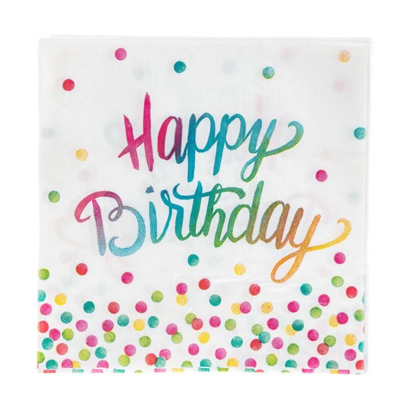 Happy Birthday Polka Dot Dinner Napkins - Confetti Party Theme, Confetti  Decor, Art Party, Watercolor Party Theme, Watercolor Birthday