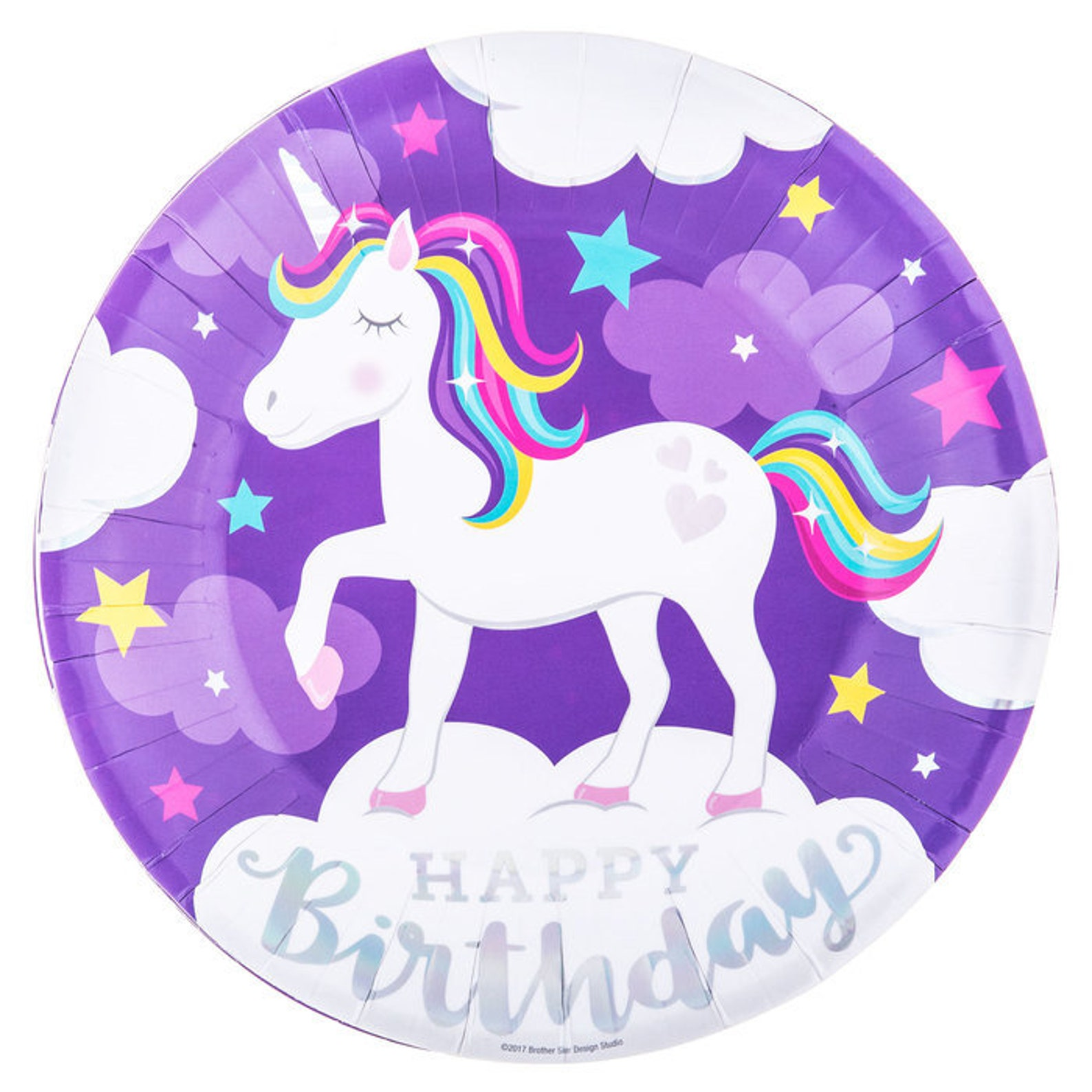 Unicorn Paper Plates for 10 Guests