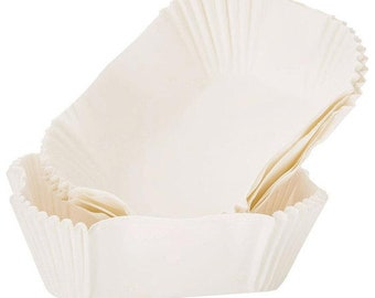White Loaf Baking Cups, Set of 24 - Cupcake Wrapper, Cupcake Liners, Baking Liner, Muffin Loaf Liners, Mini Bread Liners, Muffin Baking Cup