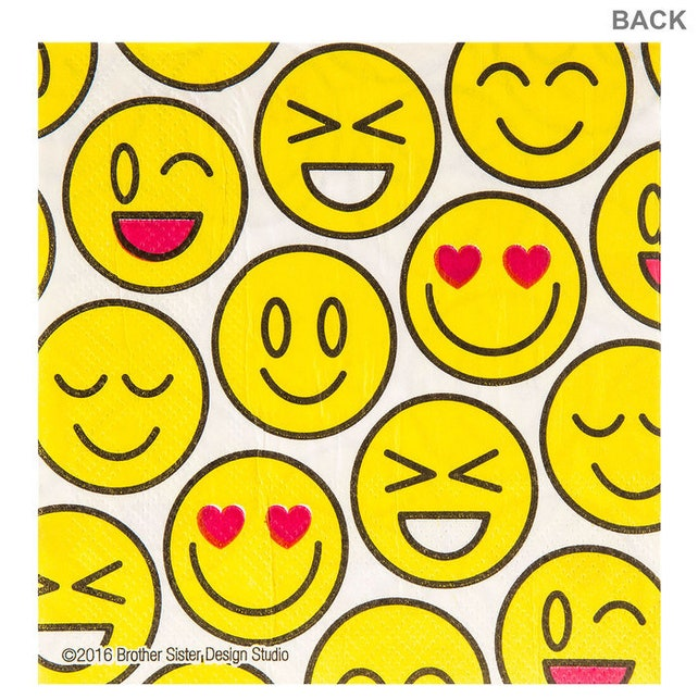 Square HBD2U Emoji Party LARGE Napkins - Table Tableware Lunch