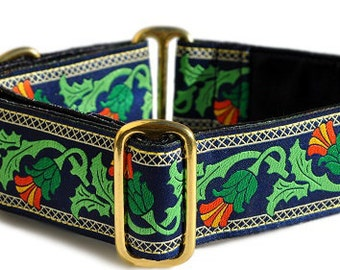 Martingale Dog Collar or Buckle Dog Collar - Custom Dog Collar - Wide Martingale Collar -  Thistle Jacquard on Navy - 1.5 Inch