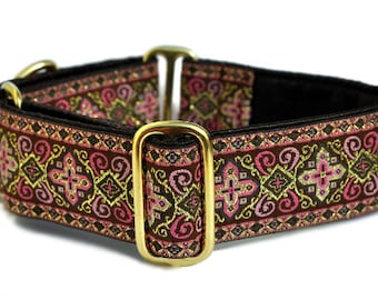 Martingale Collar, Martingale Dog Collars, Greyhound Collar, Wide Dog Collar for Large Dogs, Dog Gift - Brown & Pink Nobility Collar - 1.5""