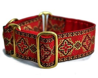 Martingale Dog Collar, Martingale Collar, Greyhound Collar, Whippet Collar, Boy Dog Collars, Dog Lover Gift - Red Nobility Collar - 1.5""
