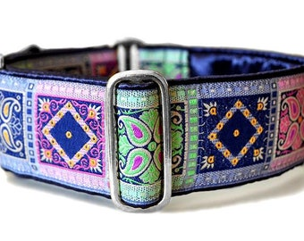 Martingale Collar or Buckle Dog Collar - Kashmir Squares Jacquard in Navy & Pastels - 2 Inch, Greyhound Collar, Great Dane, Custom Collar