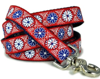 Red White & Blue Daisy Chains Dog Leash - Dog Lead, Dog Accessories, Dog Gift, Dog Lover Gift, Matching Leash, Custom Dog Leash