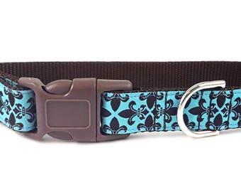 Nylon Buckle Dog Collar - Flirt de Lis Jacquard in Brown & Light Blue - 1 Inch