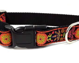 Nylon Buckle Dog Collar - Pinwheel Jacquard in Orange & Black - 1 Inch