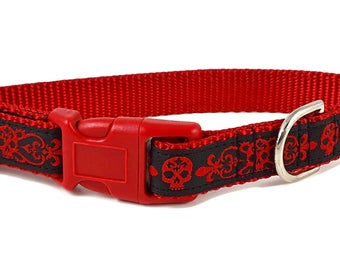 Nylon Buckle Dog Collar - Danger Dog Jacquard - 3/4 Inch