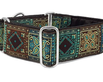 Martingale Collar or Buckle Dog Collar - VERY LIMITED! - Kashmir Squares Jacquard in Brown & Turquoise - 2 Inch, Greyhound Collar