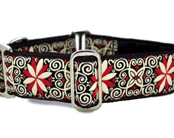 Martingale Dog Collar or Buckle Dog Collar - Arabesque Jacquard in Red & White - 1.5 Inch, Greyhound Collar, Great Dane Collar
