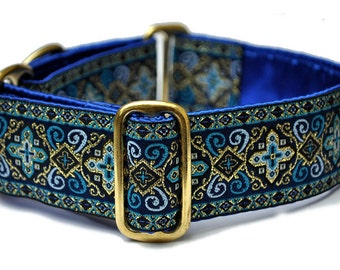 Martingale Collar, Whippet Collar, Handmade Dog Collars, Greyhound Collar, Large Dog Collar, Wide Dog Collar - Blue Nobility Collar - 1.5""