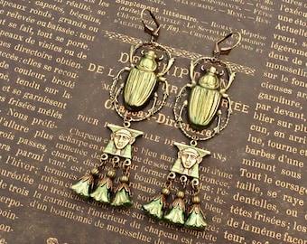 Bottle Green Scarab Earrings, Egyptian Revival Jewelry Handmade, Vintage Style Gift for Women