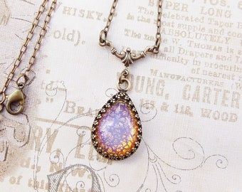 Pink Fire Opal Necklace, Victorian Jewelry Handmade, Vintage Style Personalized Women's Gift