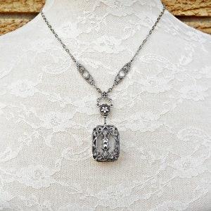 transparent faceted rhinestones cabochon superb brilliance antique gold geometric element 34X30mm 2 ART DECO  Victorian pendants
