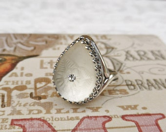 Frosted Glass Filigree Ring, Adjustable Victorian Jewelry Handmade, Vintage Style Women's Gift