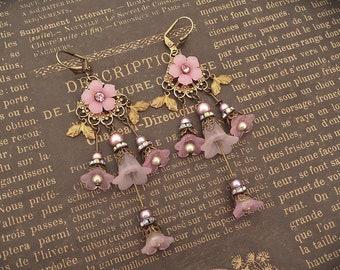 Rose Pink Flower Chandelier Earrings, Victorian Jewelry Handmade, Vintage Style Gift for Women
