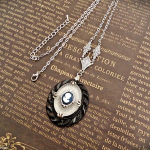antique camphor glass necklace art deco blue mirror pendant sun ray engraved chain 1920s vintage jewelry