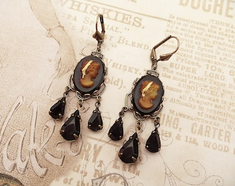 8b70361b7 Black Cameo Earrings, Gothic Victorian Jewelry Handmade, Vintage Style  Women's Gift